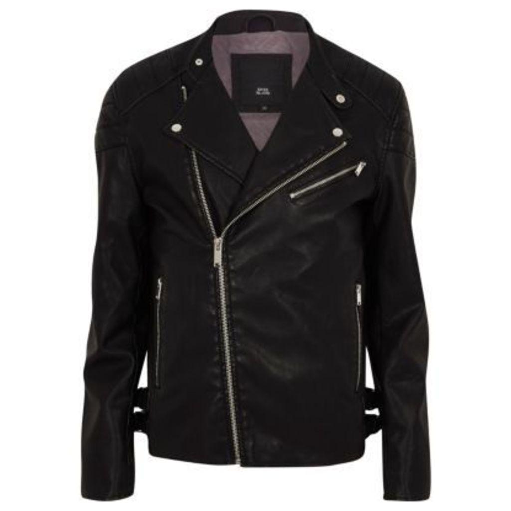 River Island Mens Black faux leather racer neck biker jacket