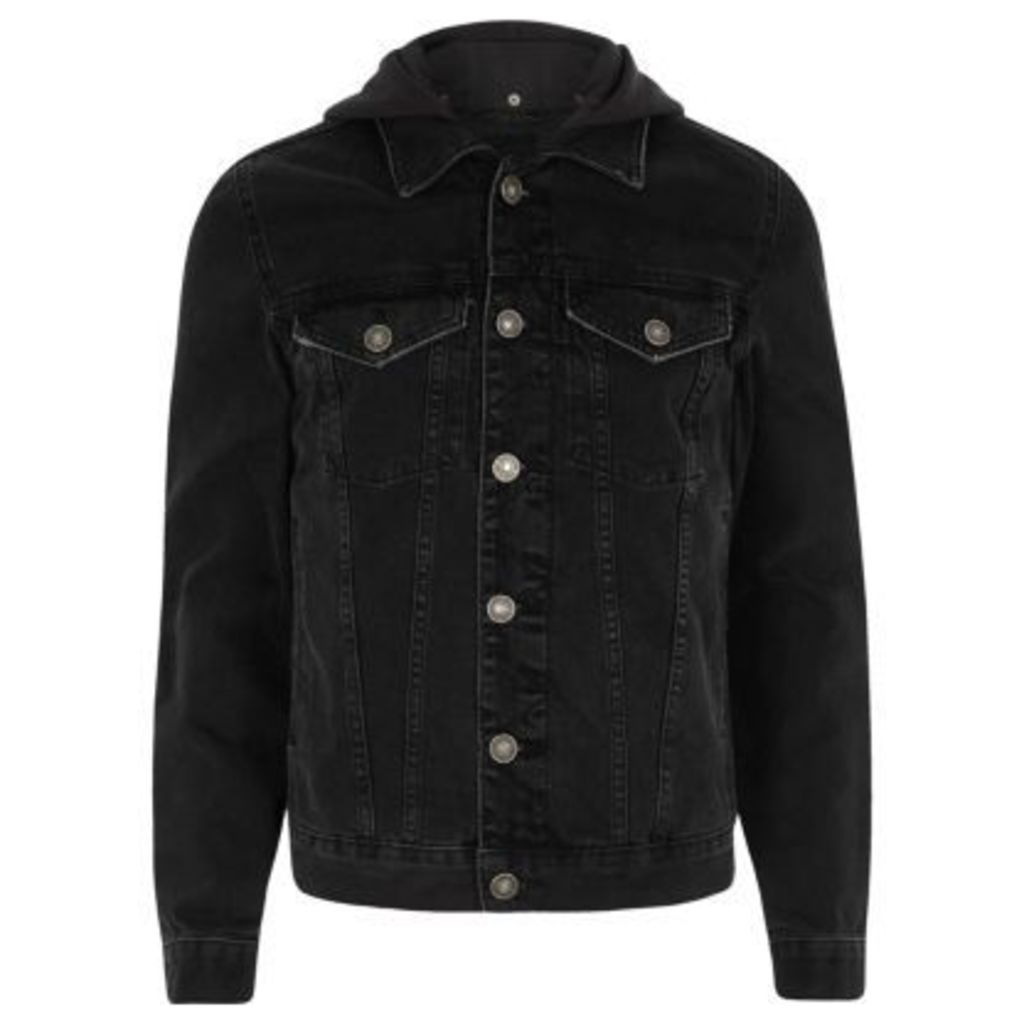 River Island Mens Black washed denim hooded jacket