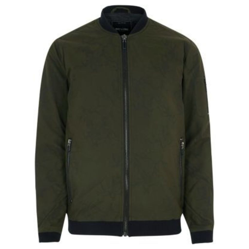 River Island Mens Green Only and Sons bomber jacket