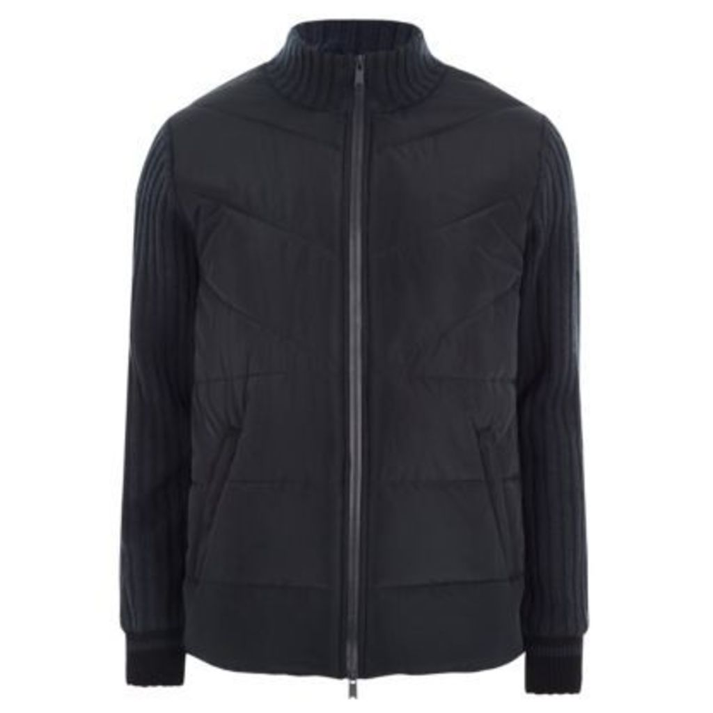 River Island Mens Navy quilted ribbed knit sleeve padded jacket