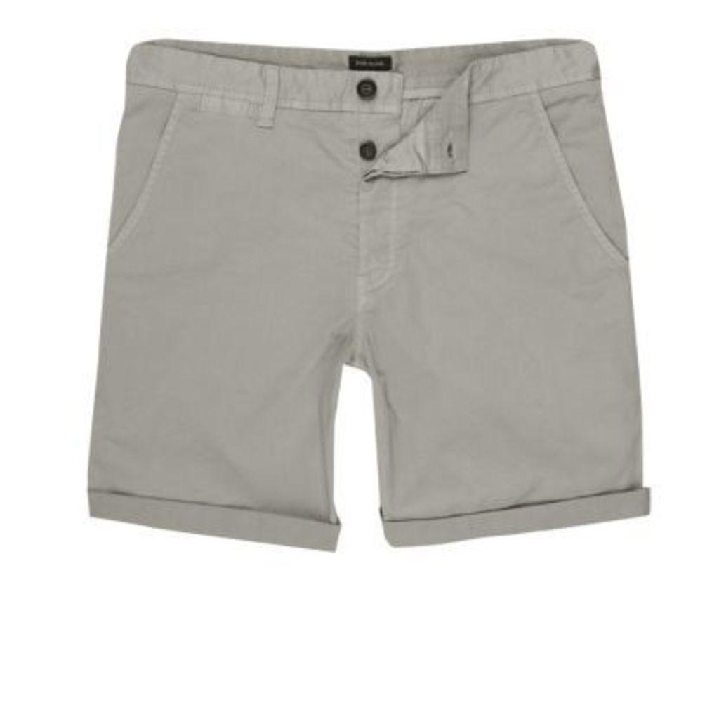 River Island Mens Light Grey rolled hem chino shorts