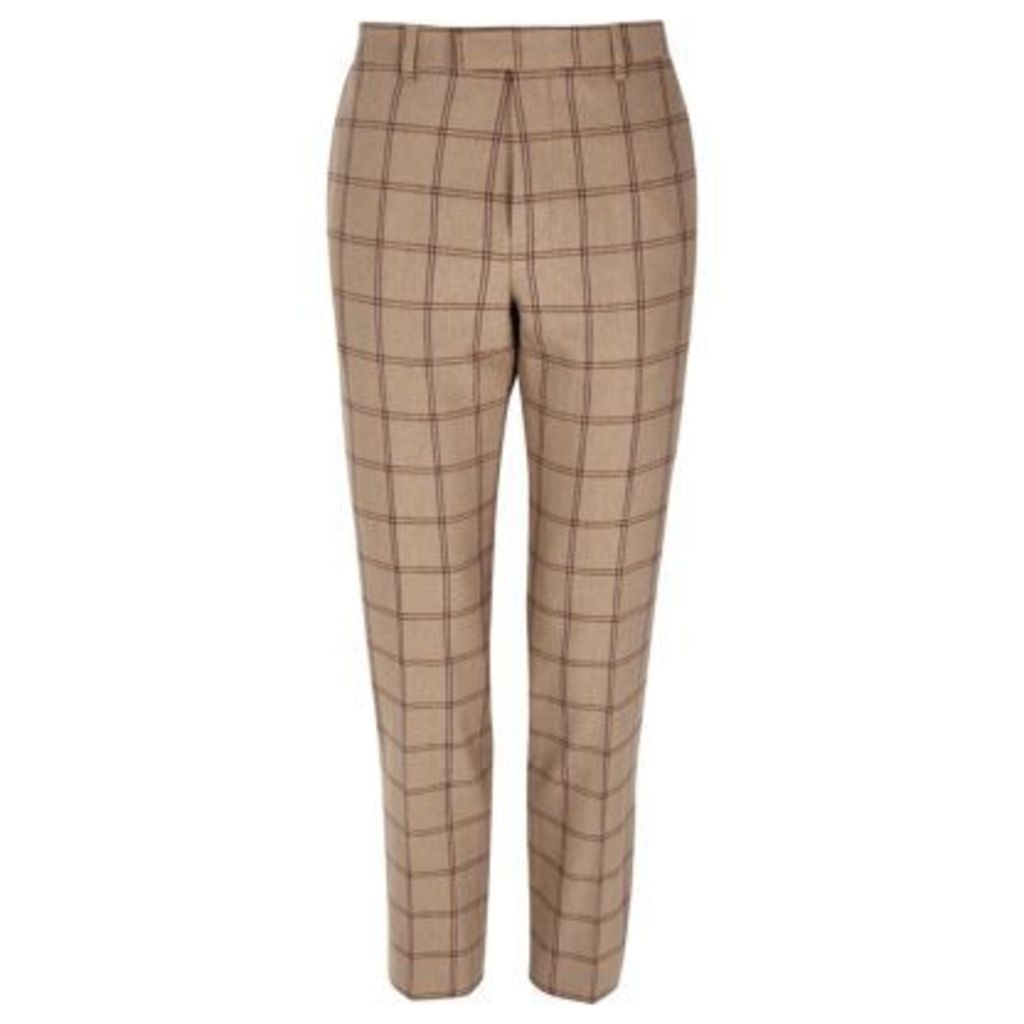 River Island Mens Beige check skinny fit suit trousers