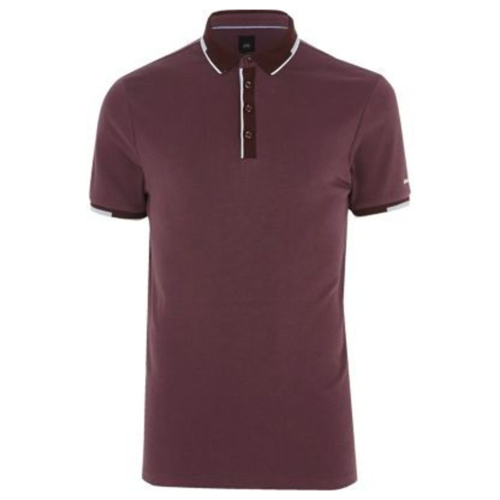 River Island Mens Dark Purple slim fit sporty tipped polo shirt