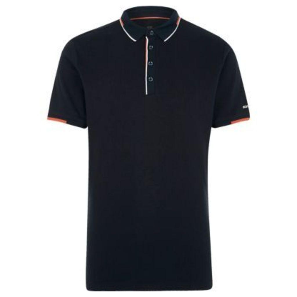 River Island Mens Navy tipped short sleeve slim fit polo shirt