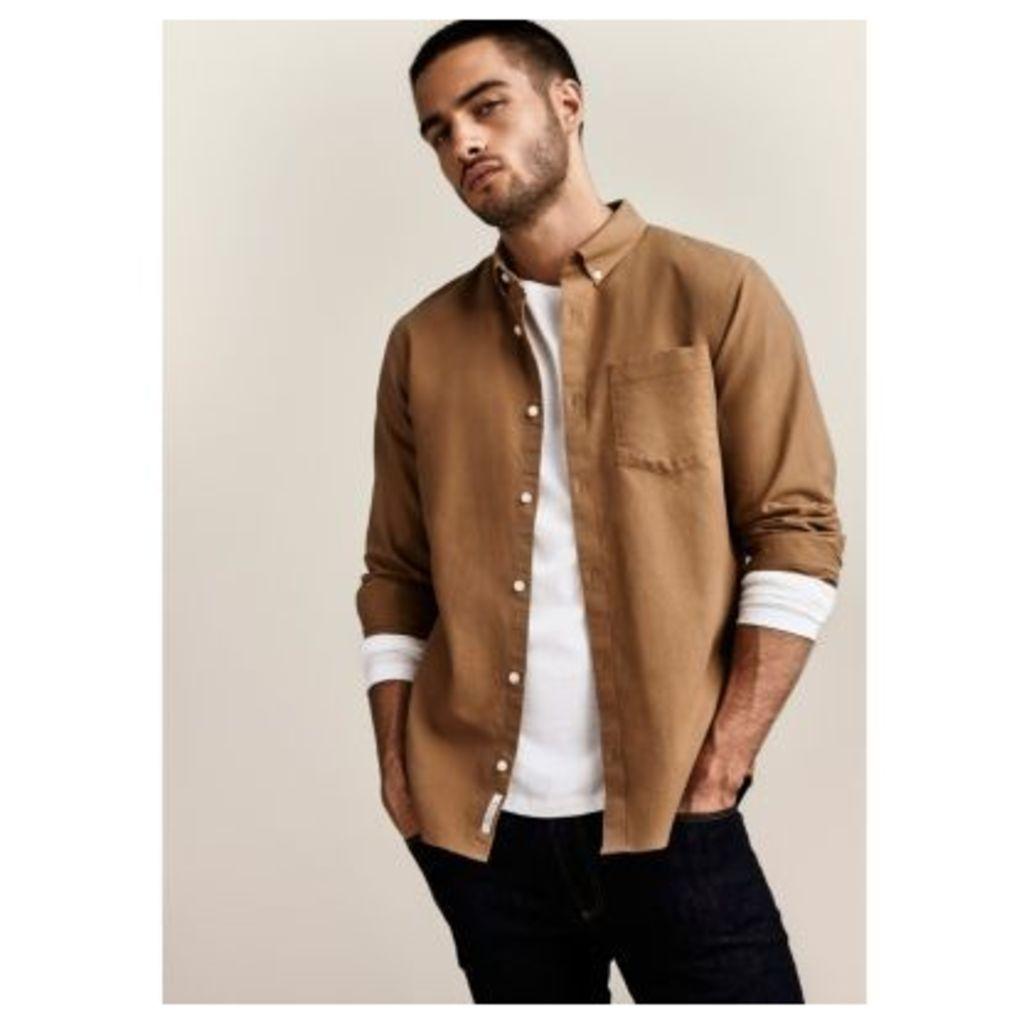 River Island Mens Brown button-down casual Oxford shirt