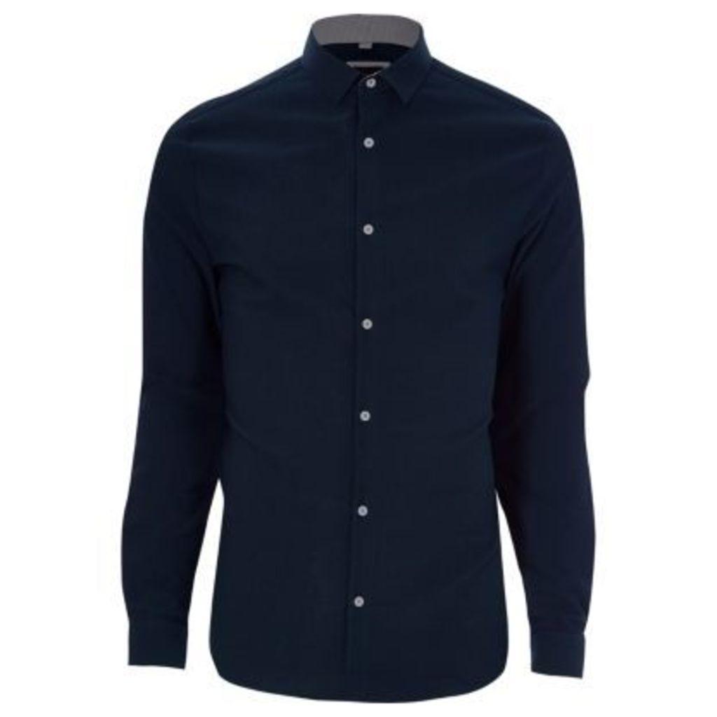 River Island Mens Navy textured skinny fit shirt