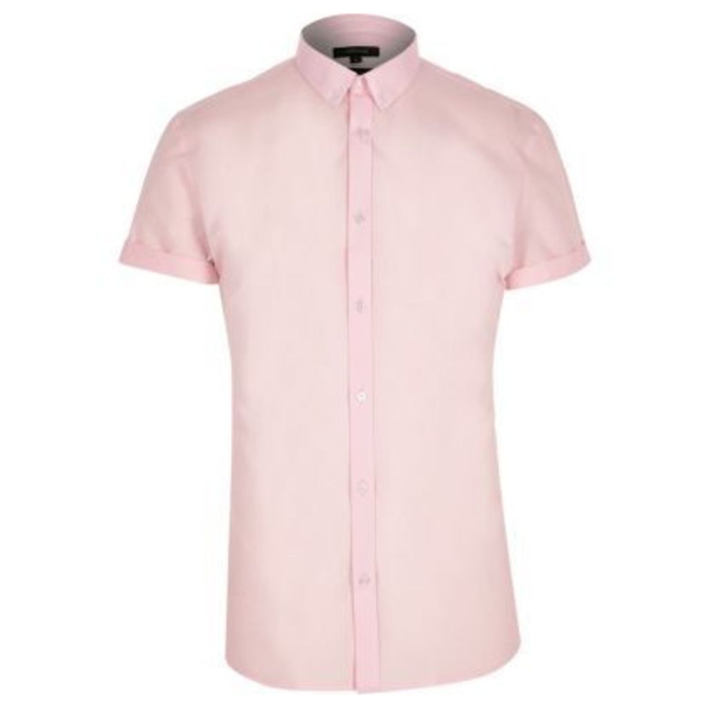 River Island Mens Pink short sleeve slim fit smart shirt