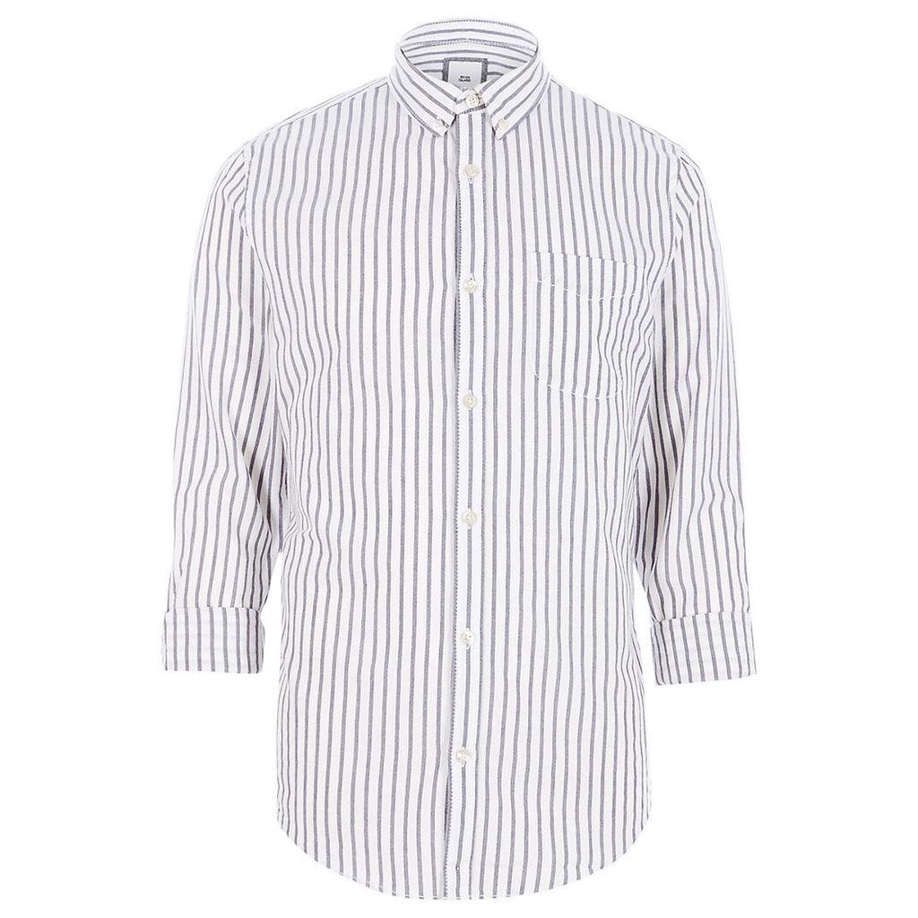 River Island Mens Grey stripe slim fit Oxford shirt
