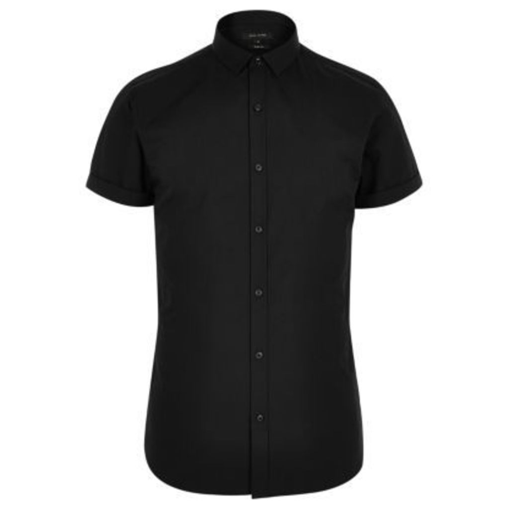 River Island Mens Black short sleeve slim fit smart shirt