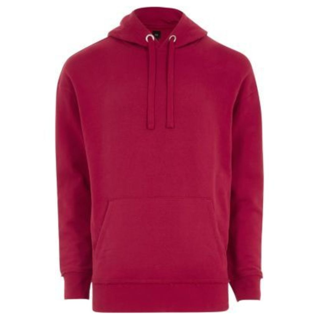River Island Mens Big and Tall Pink slouch hoodie