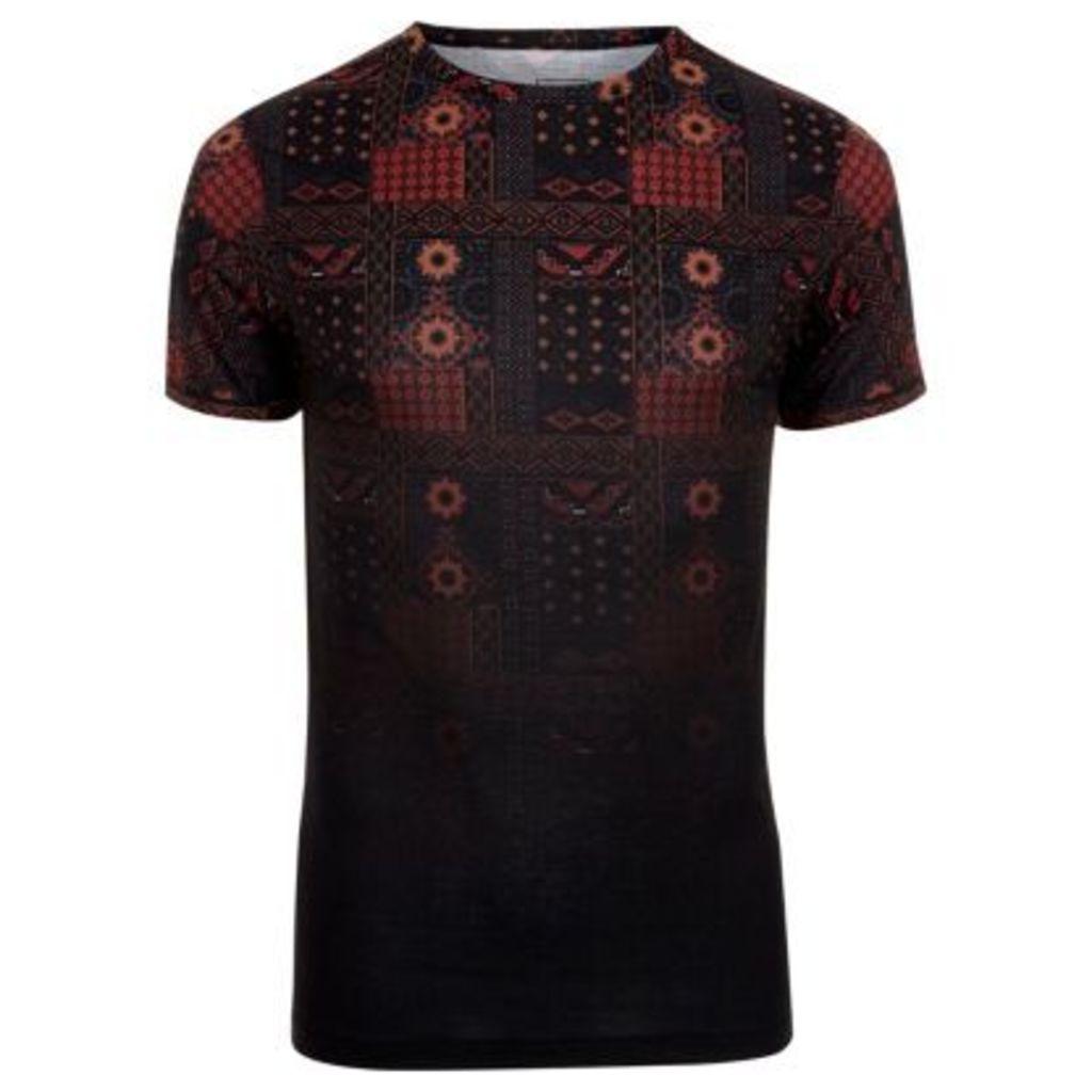 River Island Mens Black tile print fade muscle fit T-shirt