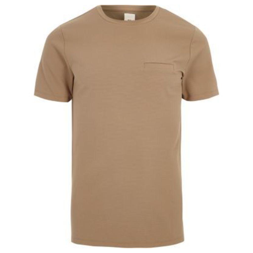 River Island Mens Camel slim fit chest pocket T-shirt