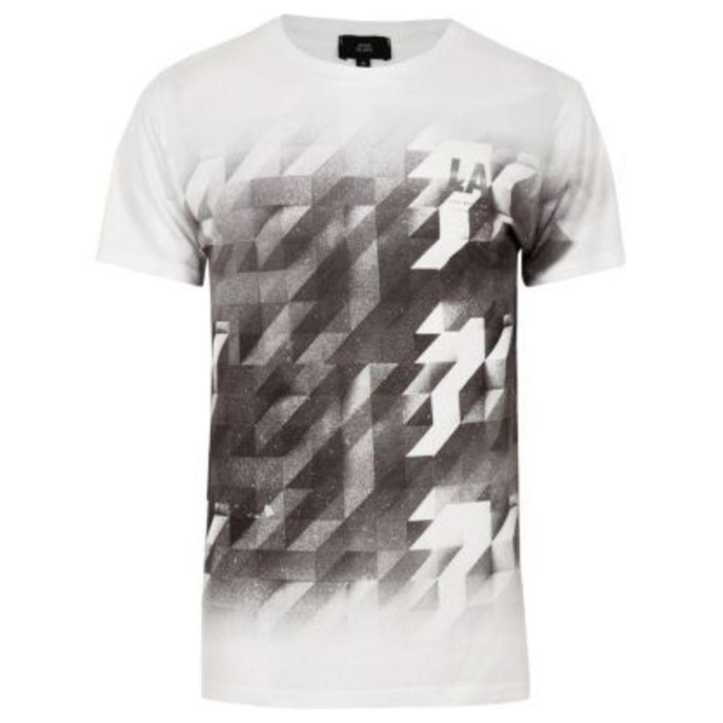River Island Mens White mono geo print fade T-shirt
