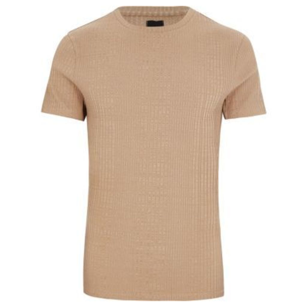 River Island Mens Big and Tall light Brown ribbed T-shirt
