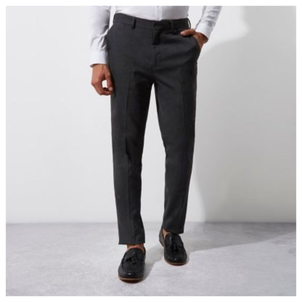 River Island Mens Grey slim fit smart trousers