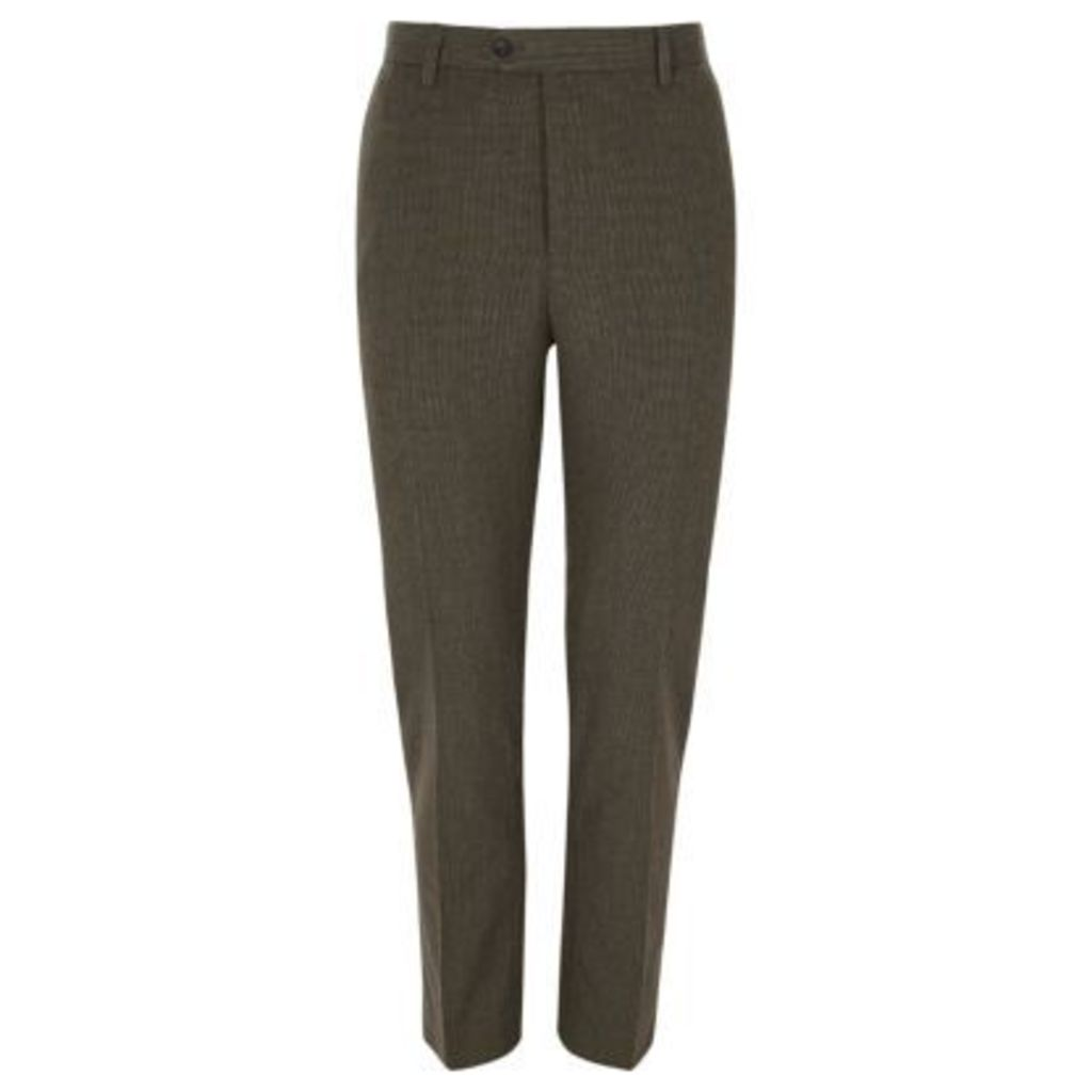 River Island Mens Brown puptooth check skinny fit trousers