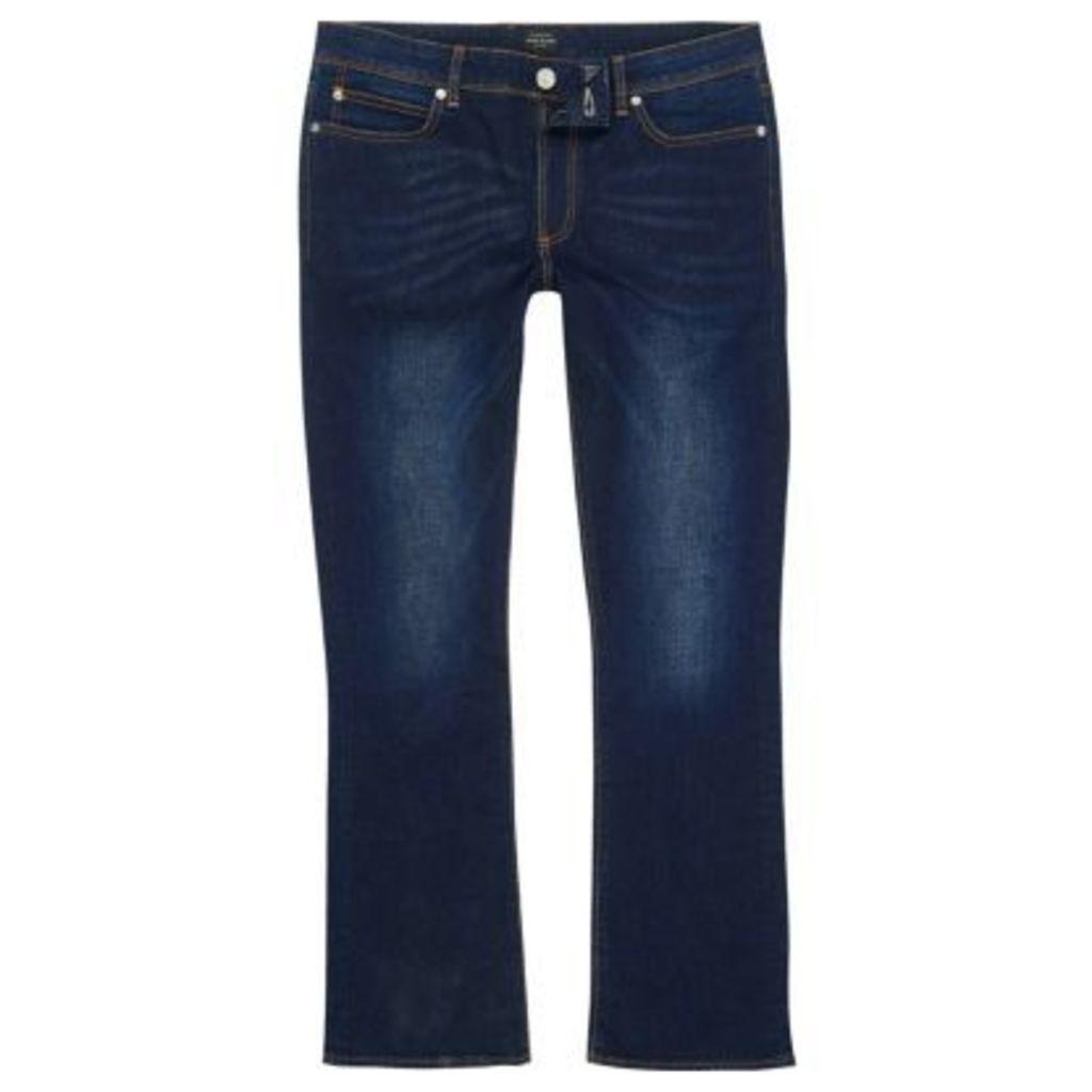 River Island Mens Dark Blue Clint bootcut jeans