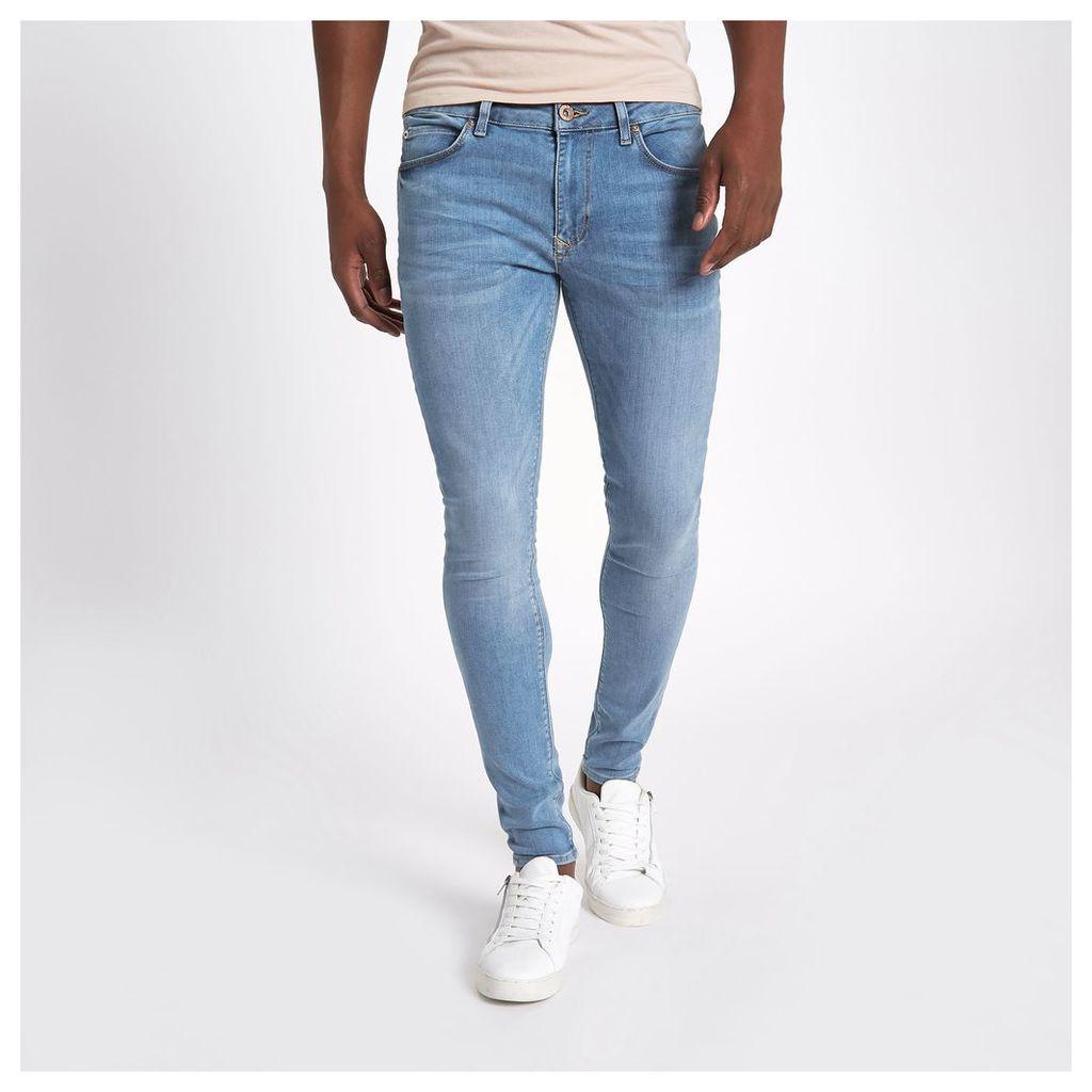 River Island Mens Light Blue Ollie super skinny spray on jeans