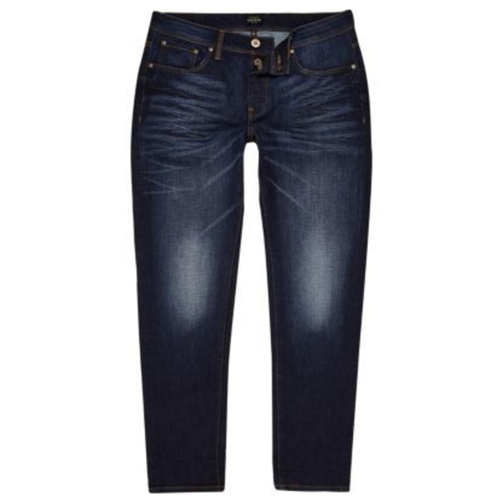 River Island Mens Dark Blue Jimmy slim tapered jeans