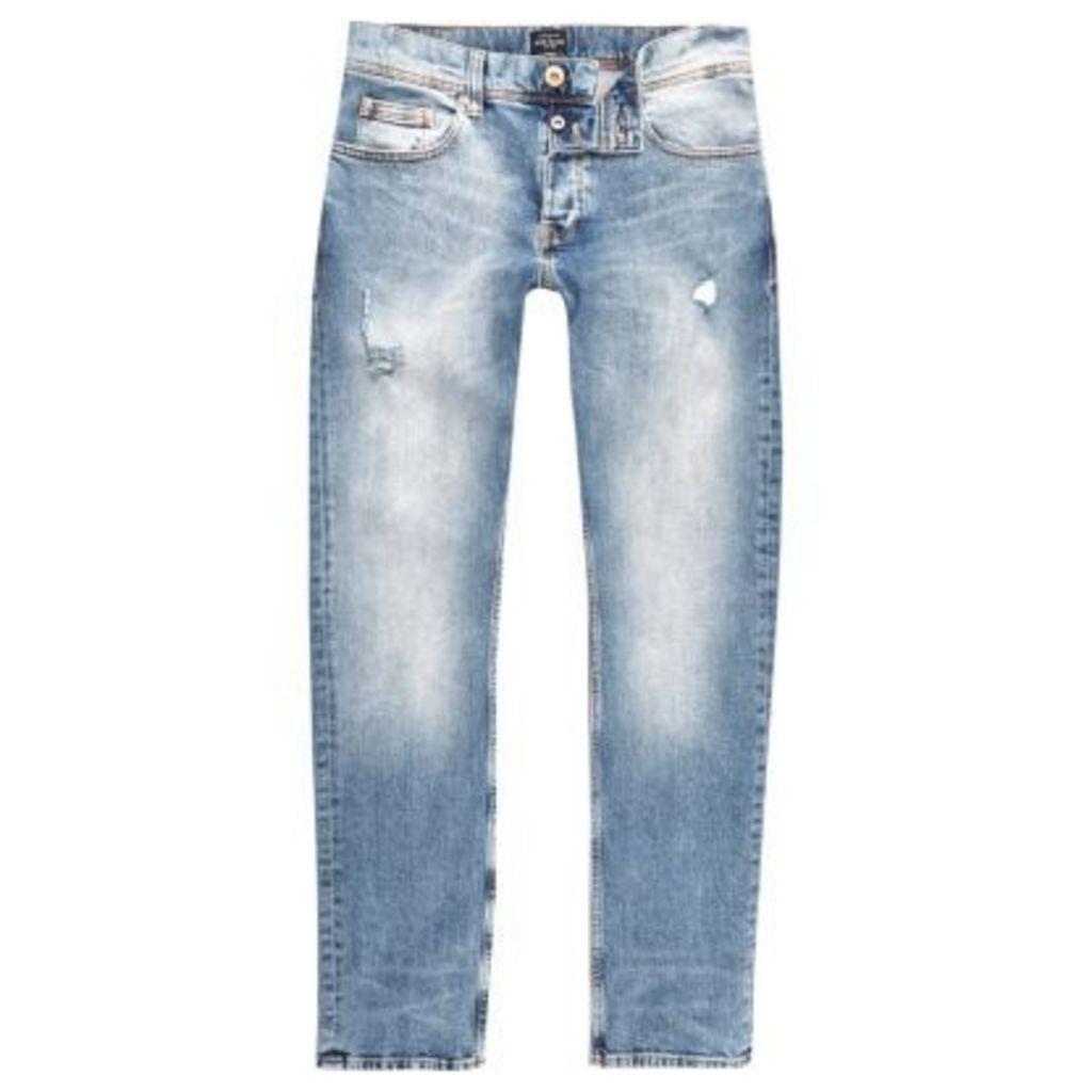 River Island Mens Mid Blue wash distressed slim fit Dylan jeans
