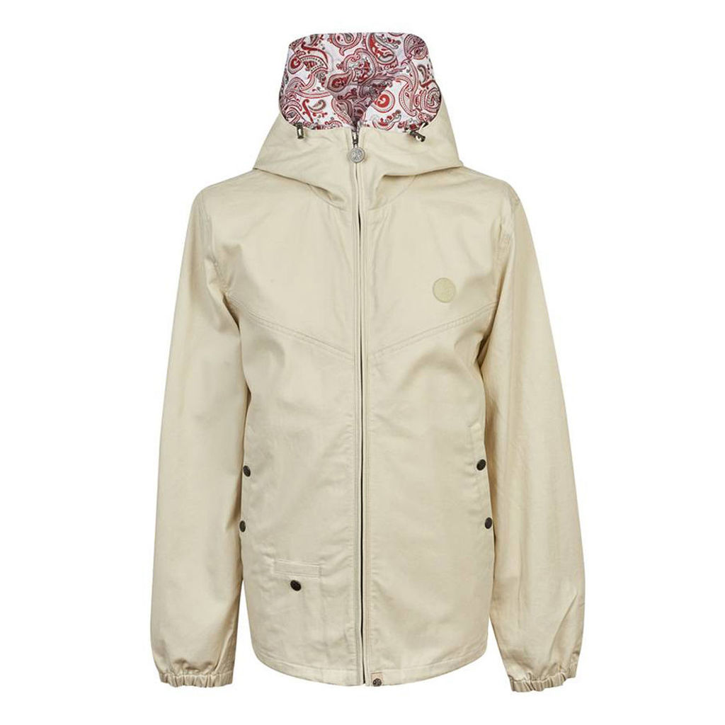 Pretty Green Men's Cotton Zip Up Hooded Jacket - Stone - M