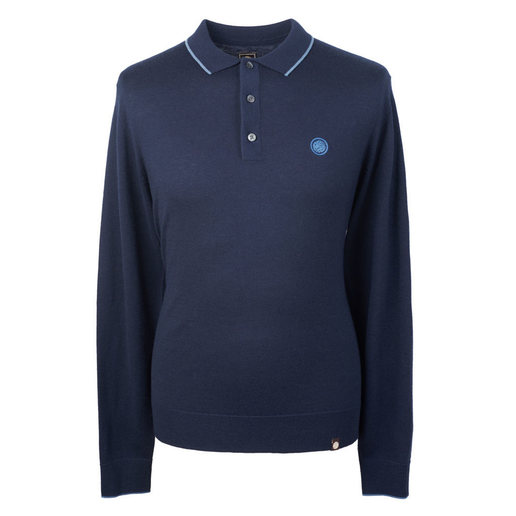 Pretty Green Men's Long Sleeve Tipped Knitted Polo - Navy - M