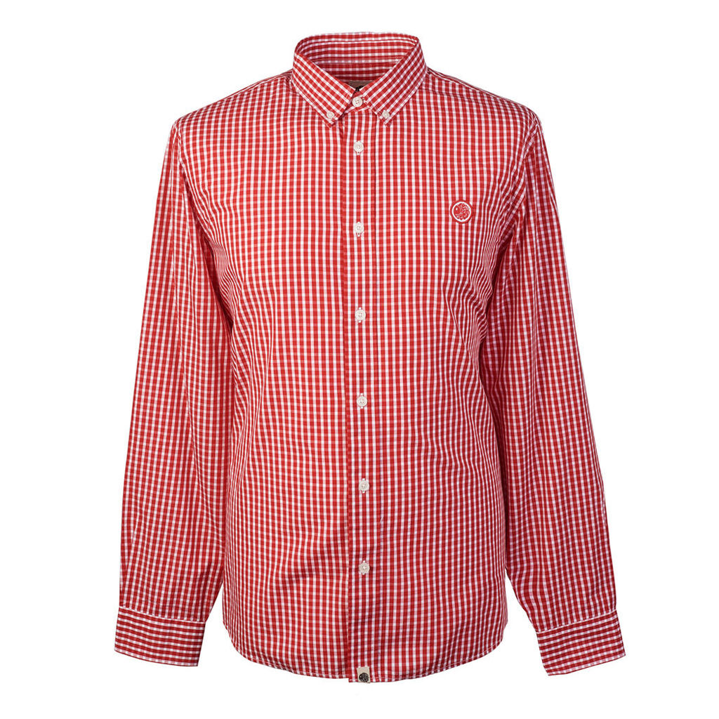 Pretty Green Men's Classic Fit Gingham Shirt - Red - M