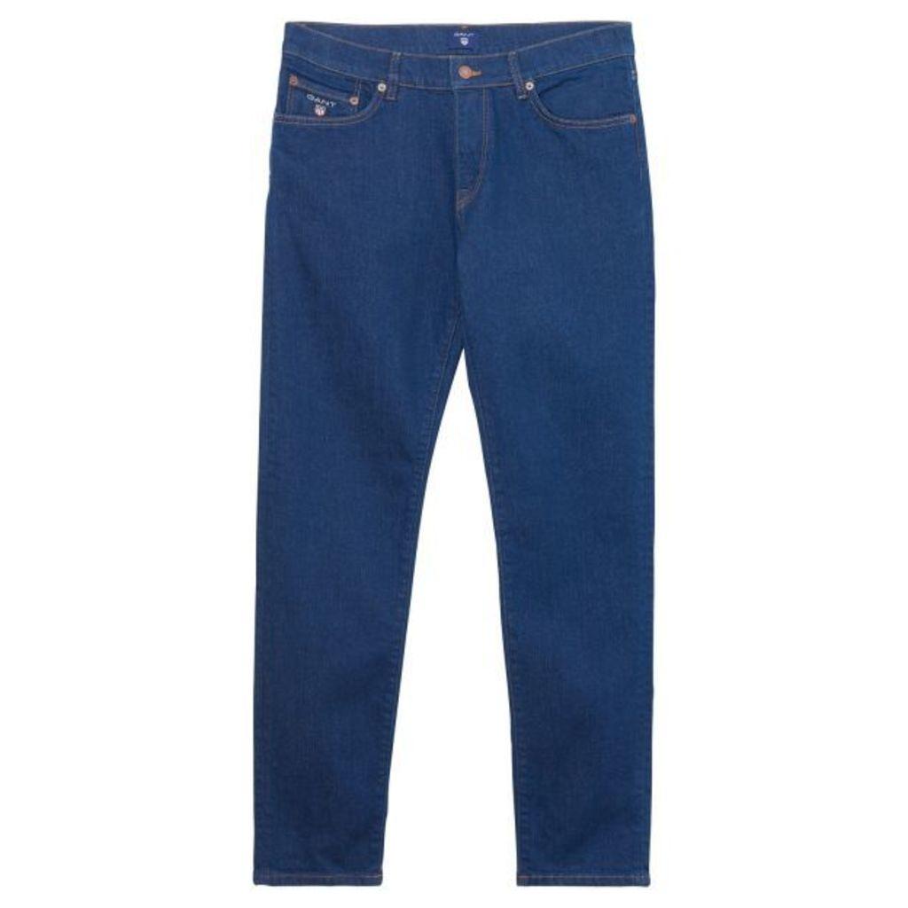 Slim Straight Jeans - Mid Blue