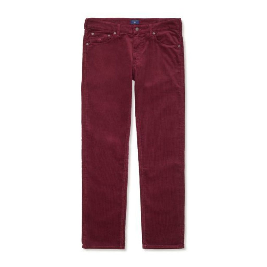 Regular Fit Stone Cord Jeans - Purple Wine