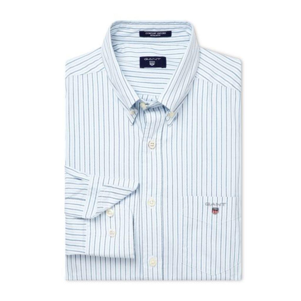 Comfort Oxford Stripe Shirt - Capri Blue
