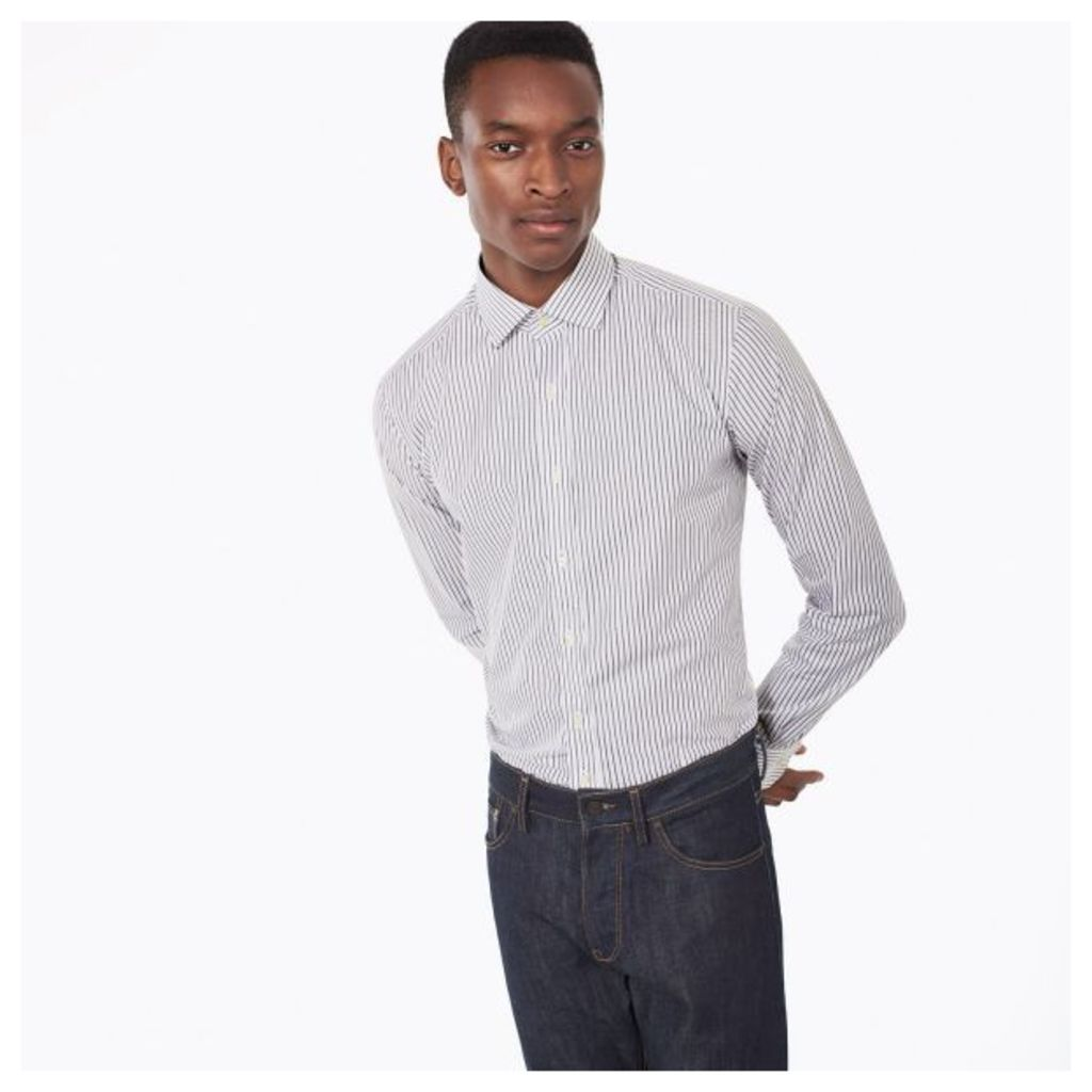 Two-color Stripe Fitted Shirt - Graphite Melange