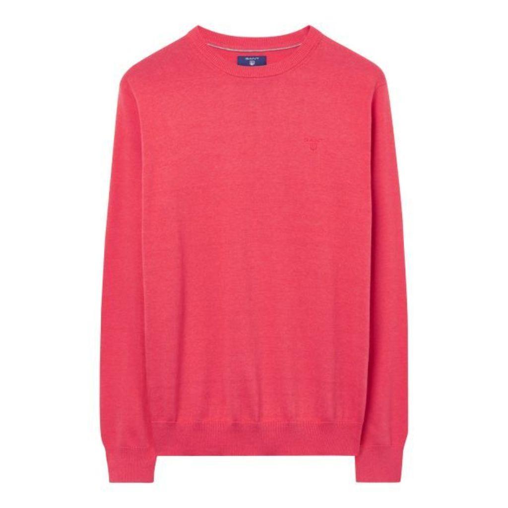 Lightweight Cotton Crewneck Jumper - Chrysantemum Red Melange