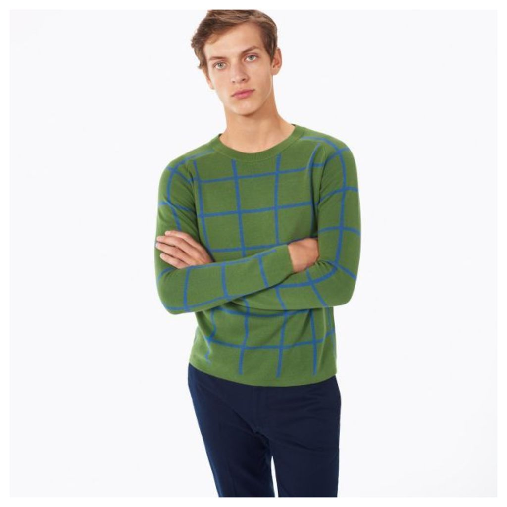 Checked Cotton Crewneck Jumper - Chlorophyll Green
