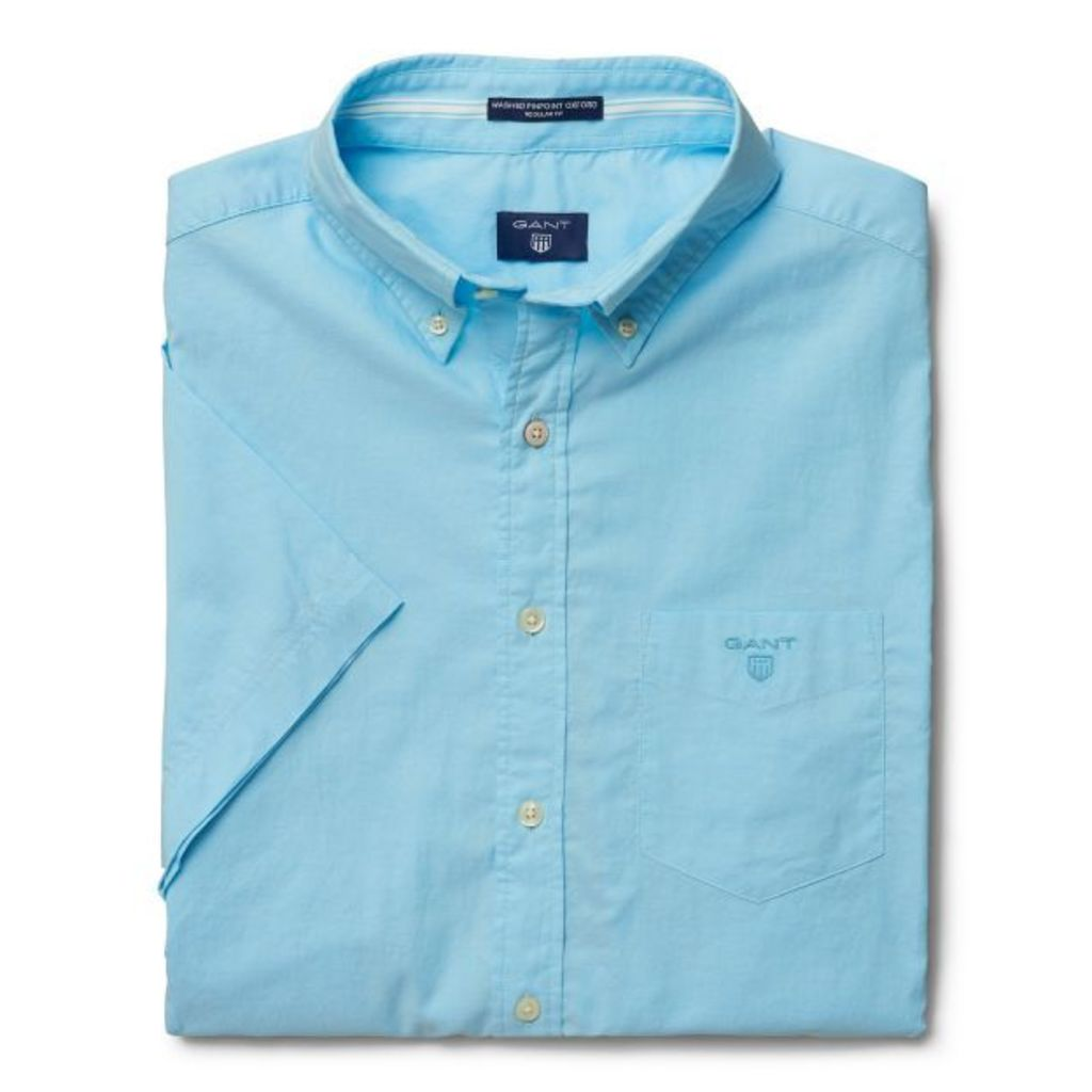 Short-sleeve Washed Pinpoint Oxford Shirt - Topaz Blue