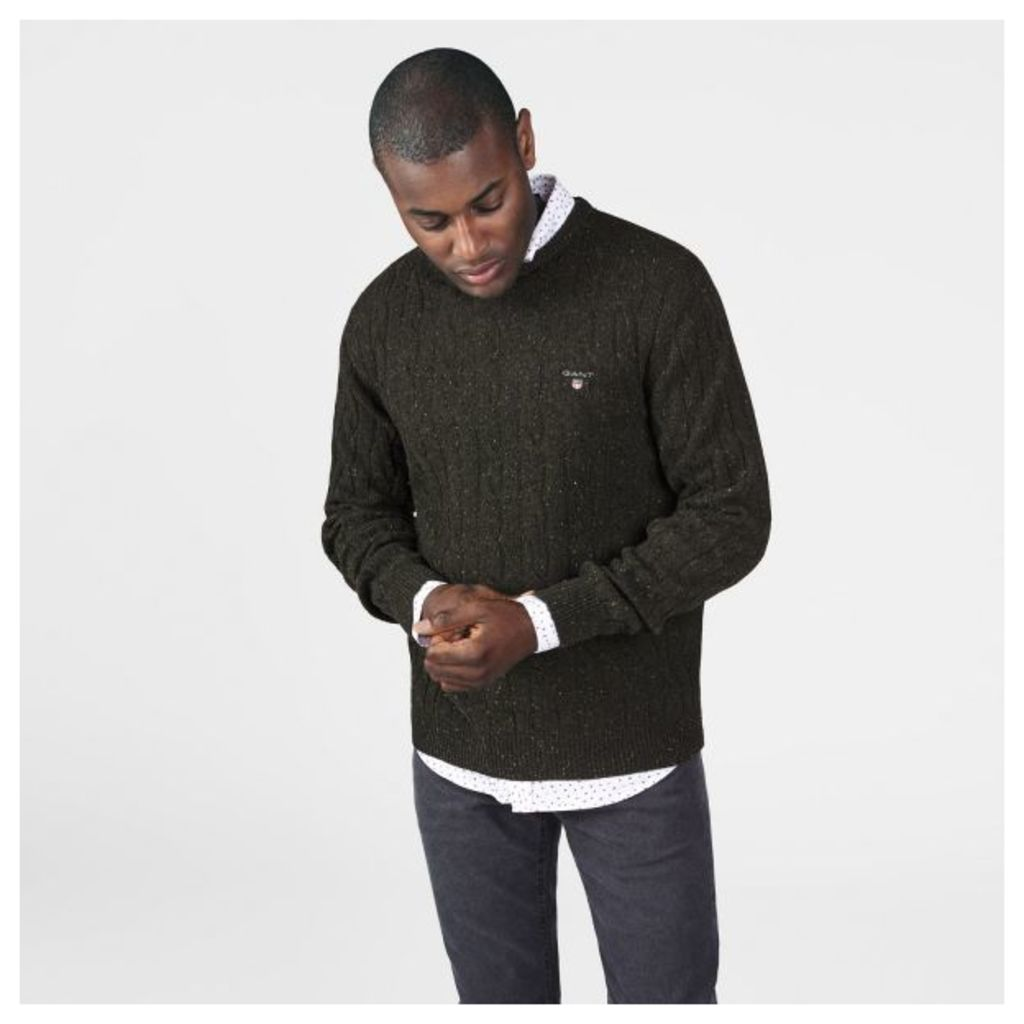 Neps Lambswool Cable Crewneck Jumper - Country Green