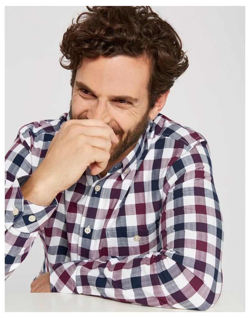 Plum Gingham Hewitt Slim Fit Shirt  Size XXL   Joules UK