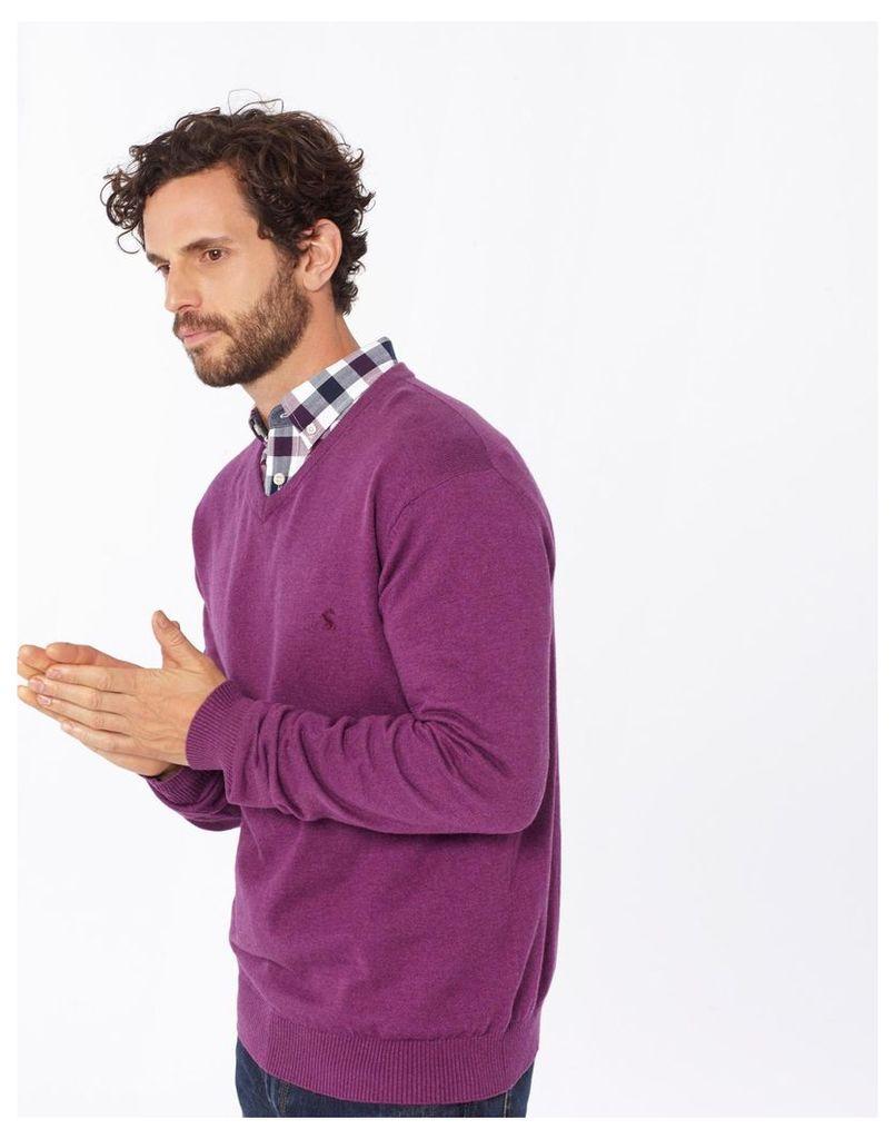 Purple Marl Retford V Neck Jumper  Size L   Joules UK