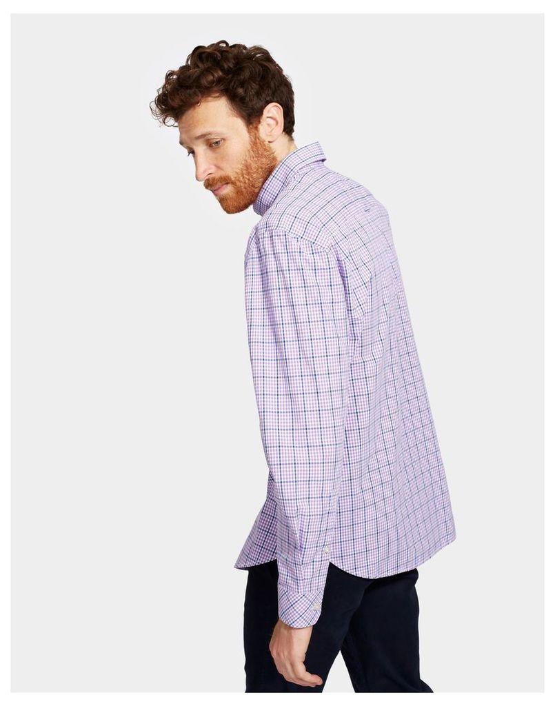 Purple Mini Gingham Hewney Classic Fit Shirt  Size XL   Joules UK