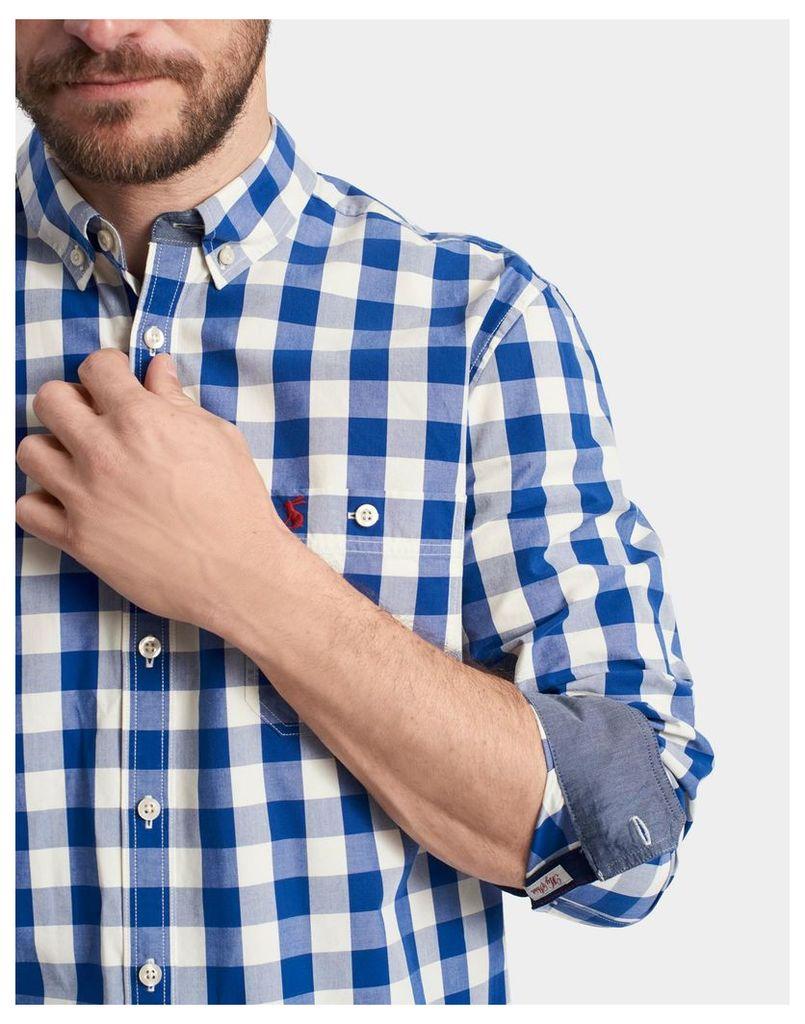 Blue Gingham Hewney Classic Fit Shirt  Size M   Joules UK