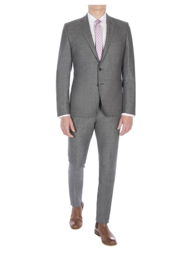 Smoked Grey Textured Jaspe Suit Jacket 48R Grey