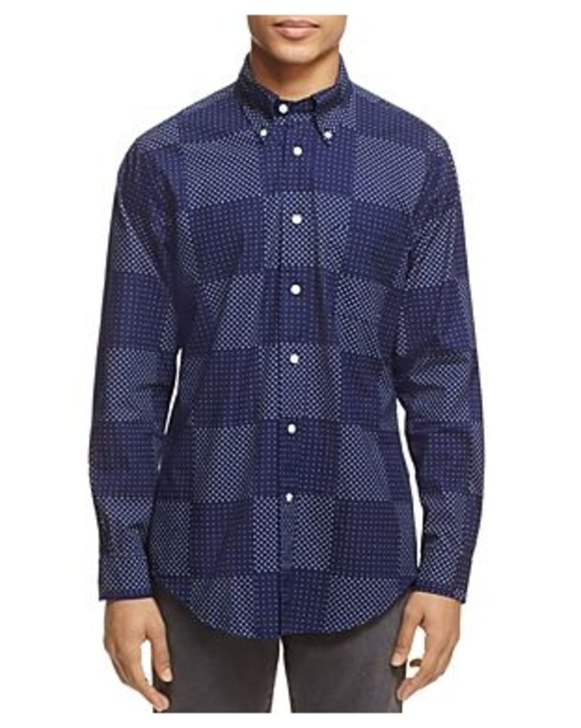 Brooks Brothers Indigo Block Print Regent Slim Fit Button-Down Shirt
