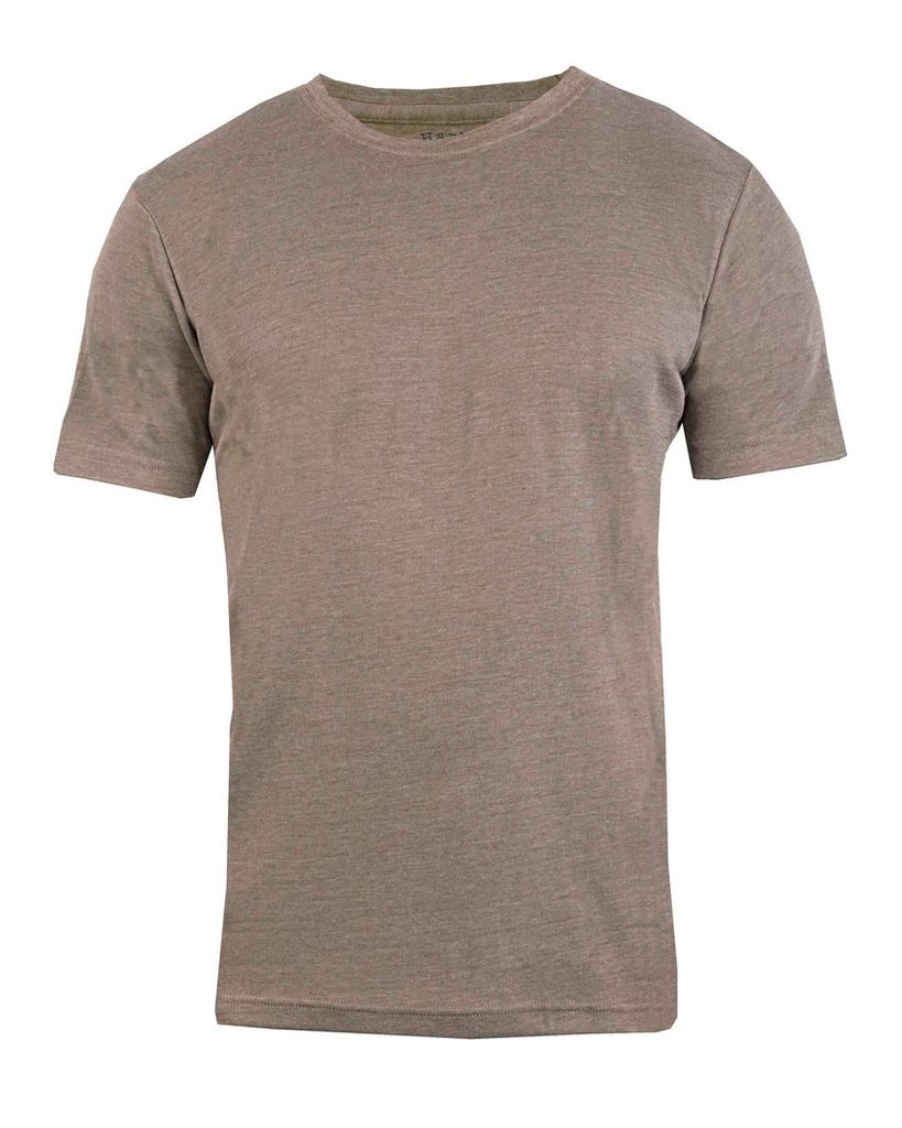 Men's Double TWO Plain Marl Ribbed Neck T-Shirt, Moss
