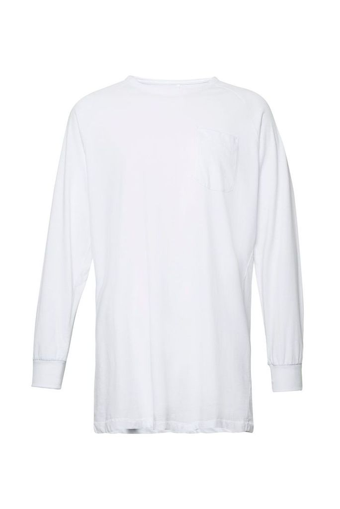 Men's French Connection Peached Longline Jersey Sweatshirt, White
