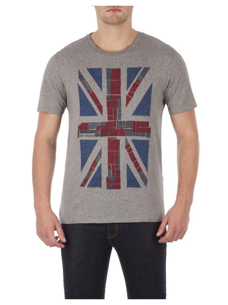 Union Jack Print T-Shirt Lge Silver Chalice Marl