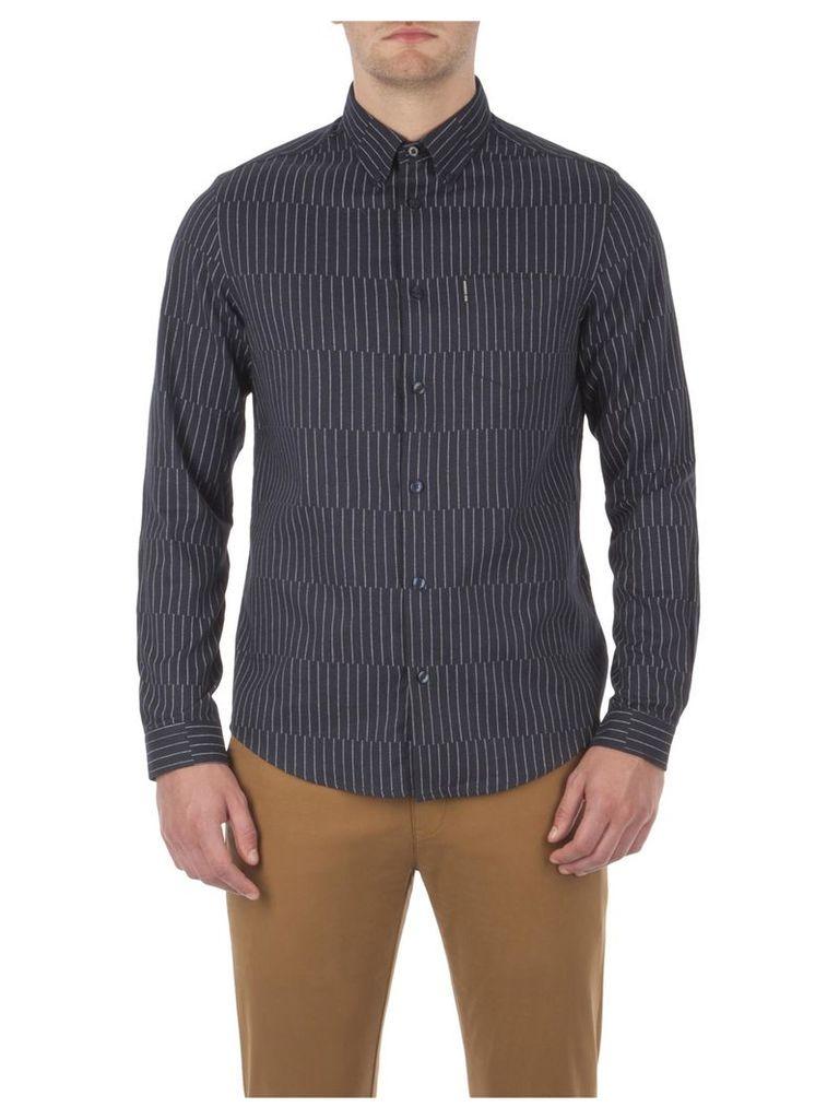 Modern Pinstripe Shirt Lge Navy Blazer Marl