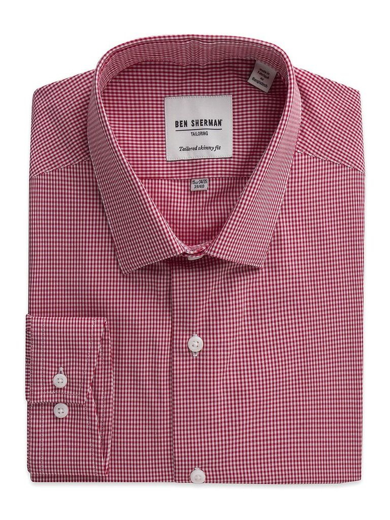 Mini Gingham Skinny Fit Shirt 17.5 Letterbox Red