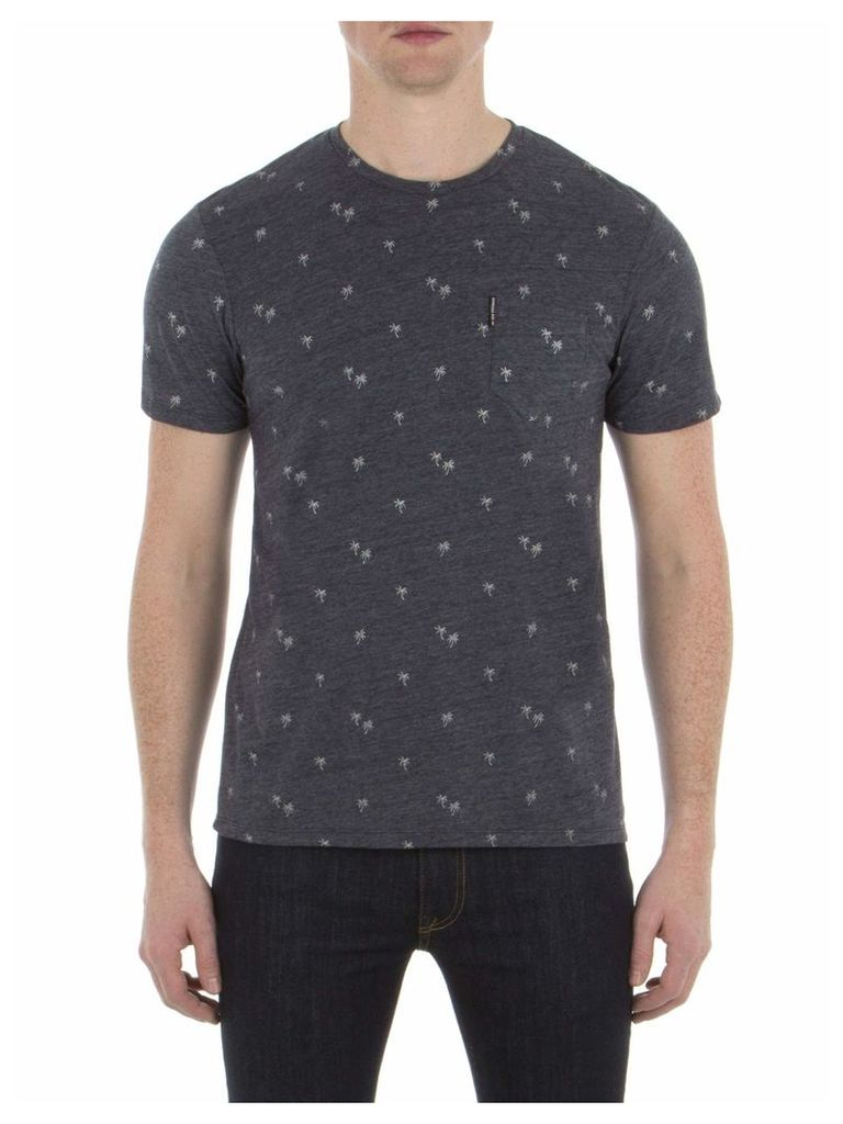 Palm Tree Print T-Shirt Lge K46 Navy Blazer Marl