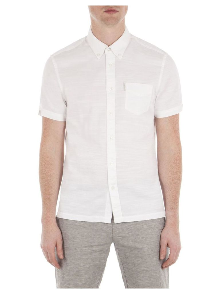 Short Sleeve Slub Twill Shirt 4XL A47 Bright White
