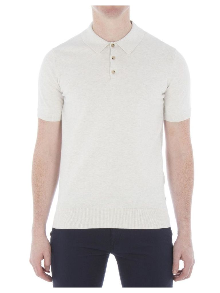 Cotton Short Sleeve Knitted Polo XS K41 Off White Marl