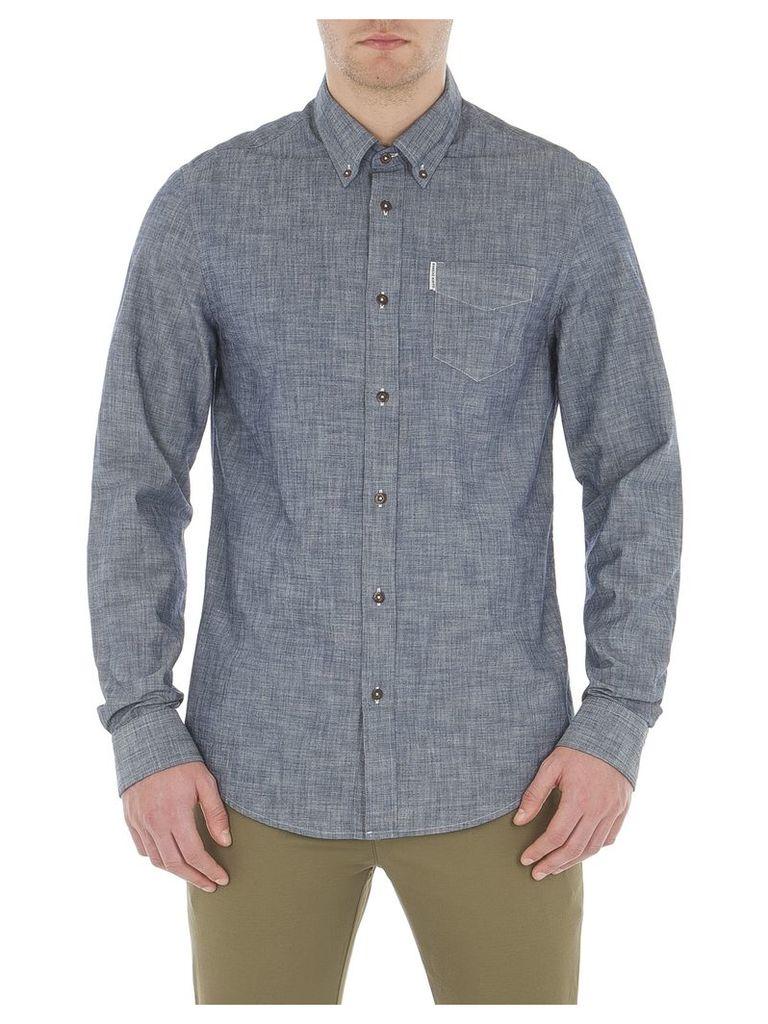 Long Sleeve Chambray Shirt Med B51 Navy Blazer